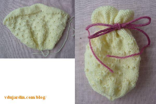 La tricoboule Pâquerette en laine écrue