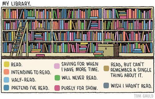 Classement de bibliothèque par Tom Gauld