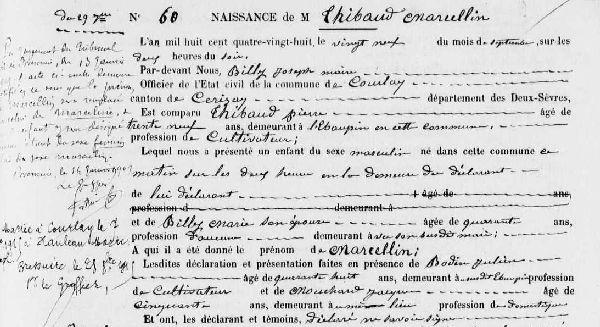 Archives départementales et les registres de recensement des Deux-Sèvres, Courlay, registre des naissances 1883-1892, vue numérisée n° 131