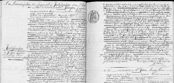 Archives départementales et les registres de recensement des Deux-Sèvres, Courlay, registre des naissances 1903-1912, vue numérisée n° 61