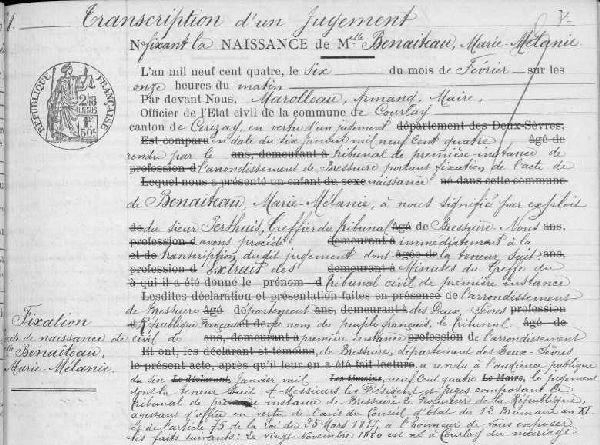 Archives départementales et les registres de recensement des Deux-Sèvres, Courlay, registre des naissances 1903-1912, vue numérisée n° 23