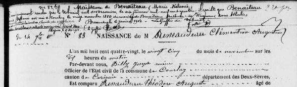 Archives départementales et les registres de recensement des Deux-Sèvres, Courlay, registre des naissances 1873-1882, vue numérisée n° 198