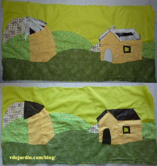 Le haricot magique, 18, pages 4 et 5, avec le paysage et les maisons, avec et sans les anti-dérapants pour la couture des toits