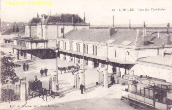 L'ancienne gare de Limoges de 1856, vue sur une carte postale ancienne antérieure à 1914