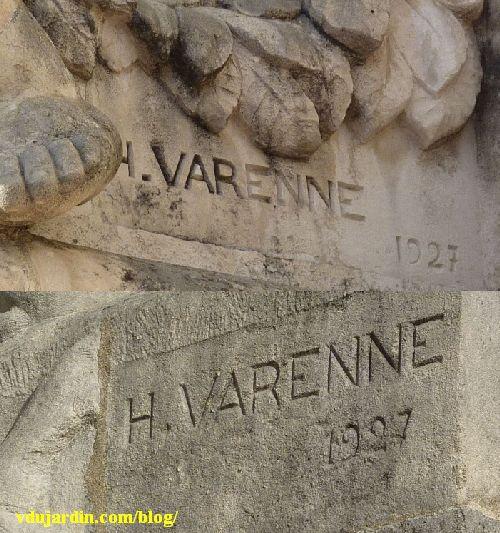 La gare de Limoges, signatures H. Varenne, 1927, sur les statues