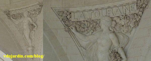 Intérieur de la gare de Limoges, allégorie de la Touraine