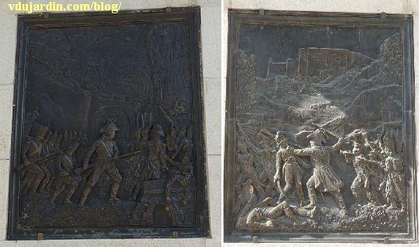 Le général Lecourbe par Antoine Étex à Lons-le-Saunier, les deux plaques en bronze
