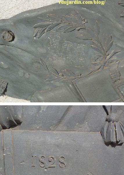 Le général Lecourbe par Antoine Étex à Lons-le-Saunier, détails des trophées