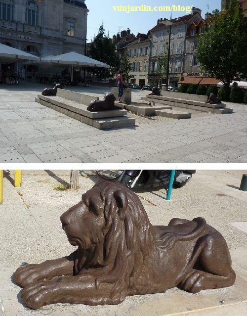 Le général Lecourbe par Antoine Étex à Lons-le-Saunier, les lions déplacés
