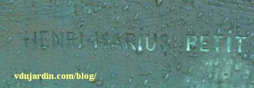 Monument des mères françaises par Petit à Metz, la signature de Henri Marius Petit