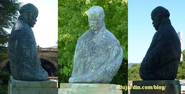 Metz, le monument à Paul Verlaine, trois vues de face et de trois quarts