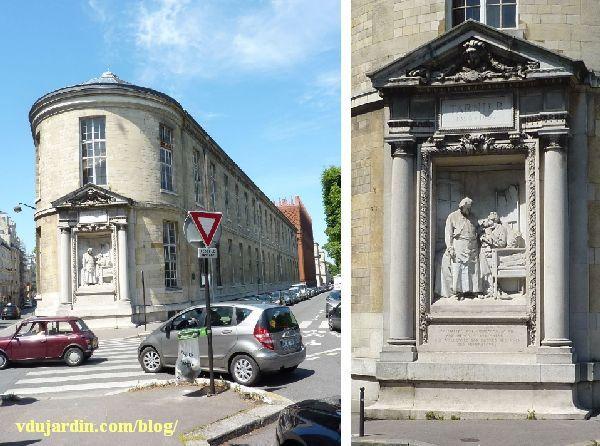 Le monument au docteur Tarnier à Paris, vue d'ensemble lointaine et rapprochée