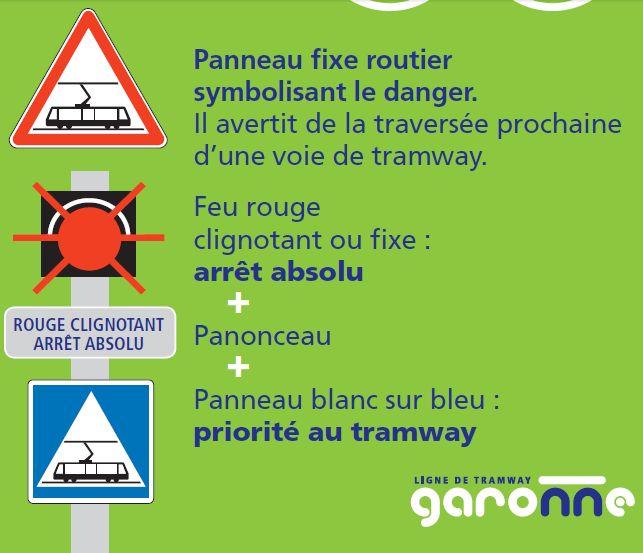Extrait de la plaquette de prévention sur le tramway de Toulouse