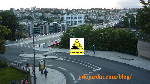 Photomontage avec panneau avalanche sur le boulevard Solférino à Poititers