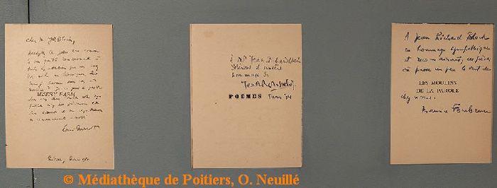 Exposition Jean-Richard Bloch à la médiathèque de Poitiers, documents autographes, cliché O. Neuillé