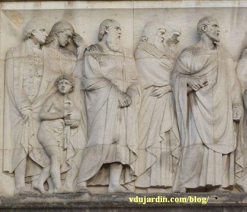 Bordeaux, façade du musée d'Aquitaine, le relief de gauche, détail de la partie gauche