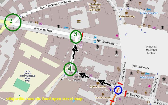 Poitiers, rue Charles-Gide, plan mis en forme