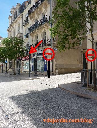 Poitiers, rue Charles-Gide, proposition d'emplacement du sens interdit