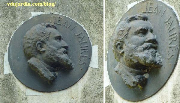 Dole, le monument à Jaurès, détail du médaillon, de face et de trois quarts