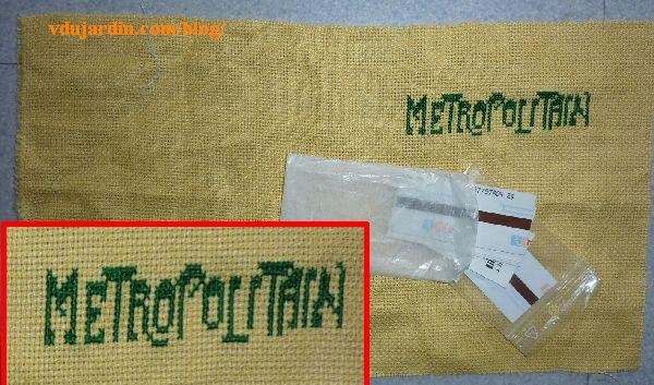 Pochette à tickets de métro, broderie de Metropolitain