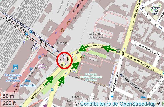Poitiers, boulevard Solférino, carte open street map avec localisation des problèmes