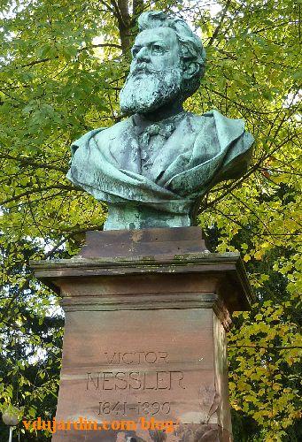 Strasbourg, parc de l'orangerie, monument à Victor Nessler, le buste et le haut du socle