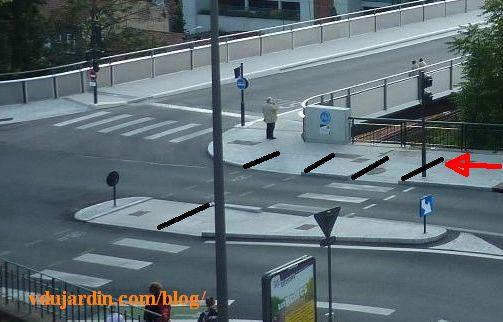 Boulevard Solférino, ruptures de niveaux et petits rebords, propositions de marquage en contraste