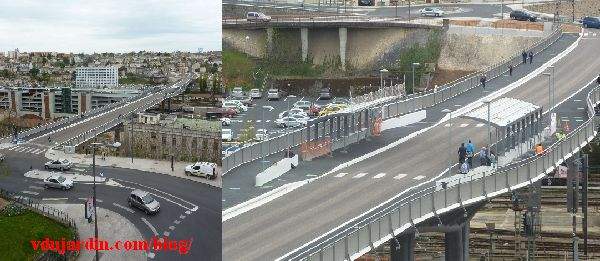 Le viaduc des Rocs à Poitiers, 2 avril 2014, début de construction des abribus