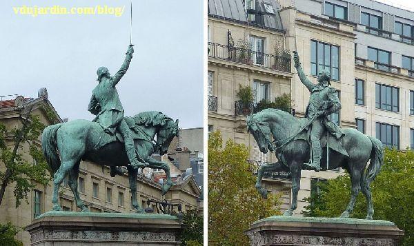 Paris, monument à George Washington, la statue des deux côtés