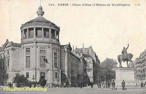 Paris, musée Guimet et monument à Wahington, carte postale ancienne
