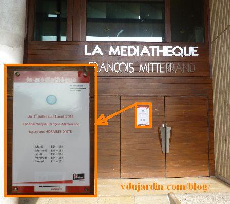 Poitiers, horaires de la médiathèque, été 2014