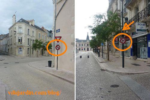 Poitiers, ajout d'un panneau interdit de tourner à gauche rue Renaudot et interdit de tourner à droite rue Victor-Hugo