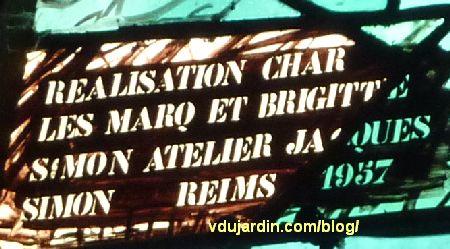 Cathédrale de Metz, vitraux de Jacques Villon, signature, date et atelier de Simon et Marq