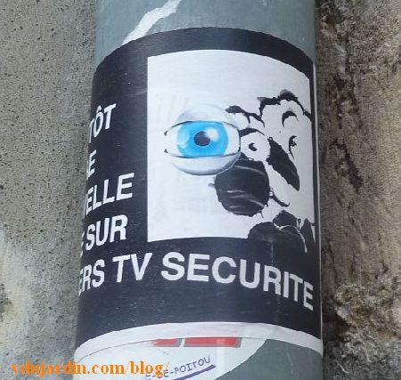 Poitiers, un mouton dénonce la création de Poitiers TV sécurité, programme de vidéo surveillance dans la campgane des municipales 2014