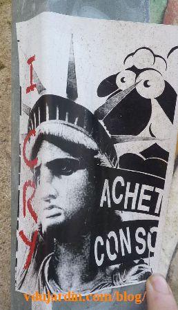 Poitiers, mouton statue de la liberté, achète-consomme
