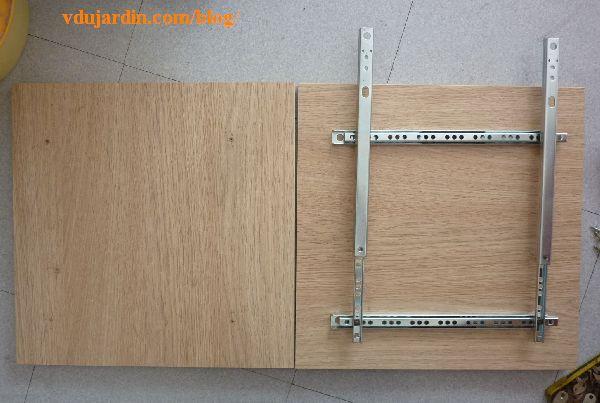 Visioagrndisseur, rails de tiroirs fixés et deuxième planche préparée