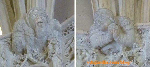 Amboise, chapelle Saint-Hubert, deux culots avec des personnages expressifs