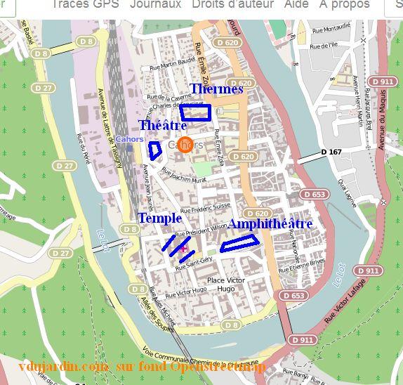 Plan schématique de Cahors antique