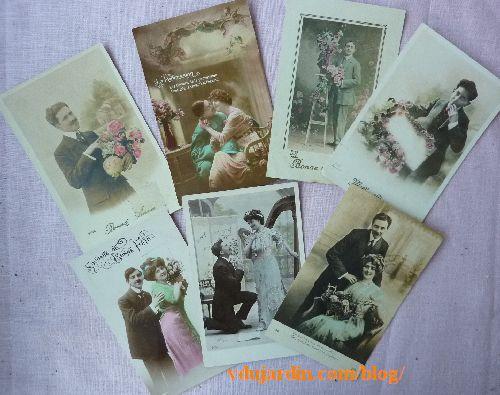 Ensemble de 7 cartes adressées à une habitante de Vouillé de 1912 à 1919