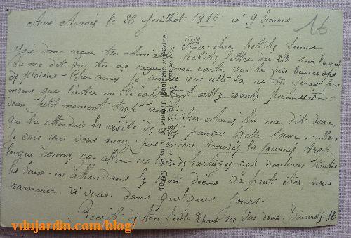 Carte de permission, juillet 1916, dos