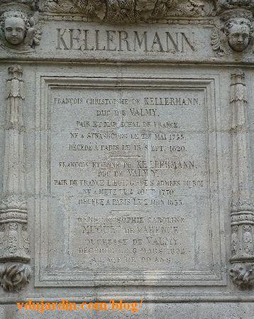Tombeau des Kellermann au Père Lachaise à Paris, plaque centrale