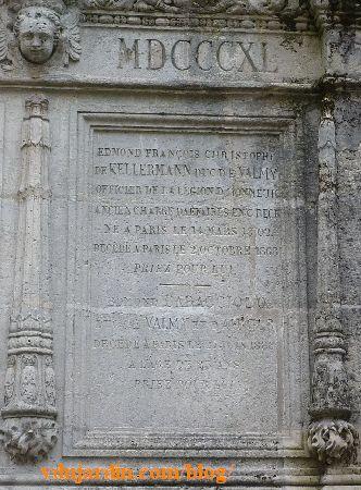 Tombeau des Kellermann au Père Lachaise à Paris, plaque droite