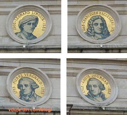 Hôtel de ville de Limoges, détail des quatre médaillons en mosaïque