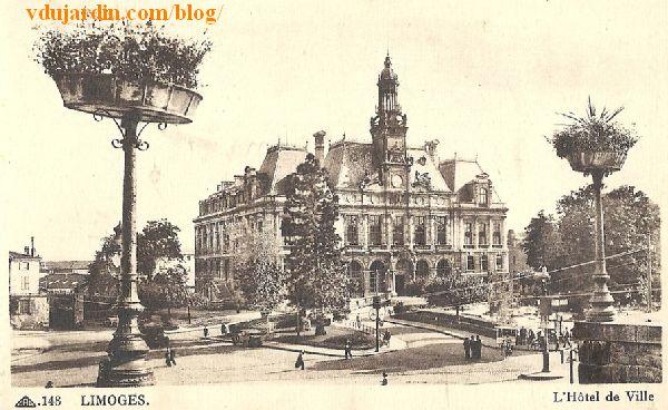 L'hôtel de ville de Limoges, carte postale ancienne