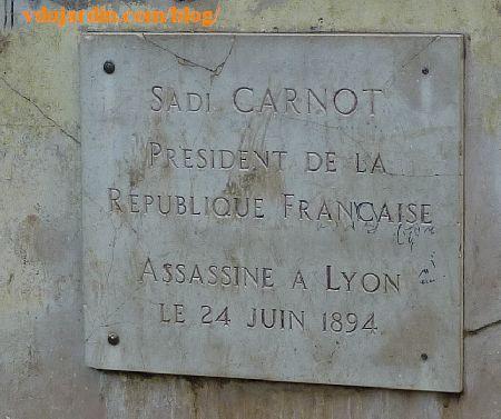 Lyon, monument à Sadi Carnot, plaque commémorative
