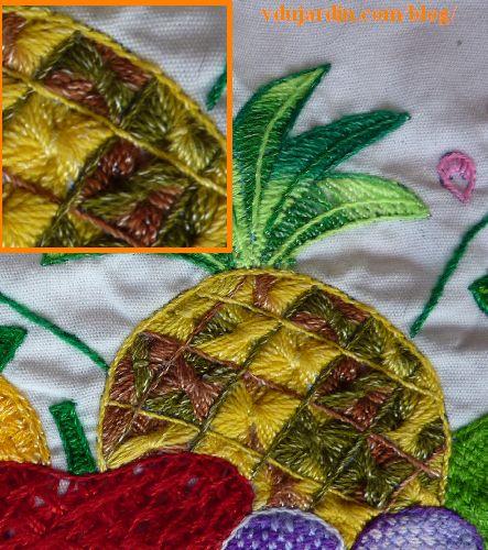 Napperon brodé mexicain, détail de l'ananas