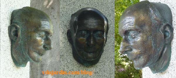 Paris, cimetière du Père-Lachaise, tombeau de Jean-Richard Bloch, masque mortuaire