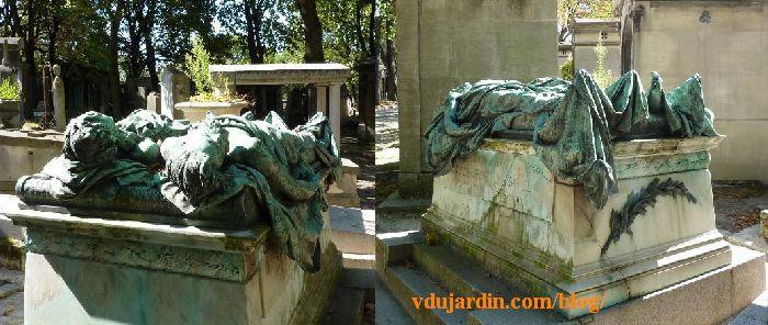 Paris, cimetière du Père-Lachaise tombe de Crocé-Spinelli et Sivel, vue des têtes et des pieds