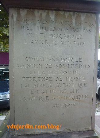 Strasbourg, le monument à Kellermann, texte sur la guerre