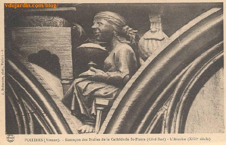 Stalles de la cathédrale de Poitiers, l'avarice, carte postale ancienne Jules Robuchon
